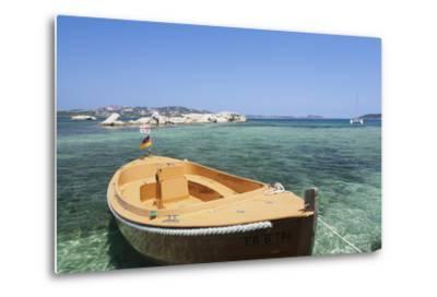 Boat at the Beach, Palau, Sardinia, Italy, Mediterranean, Europe-Markus Lange-Metal Print
