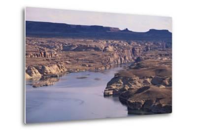 Lake among Desert Landforms-DLILLC-Metal Print