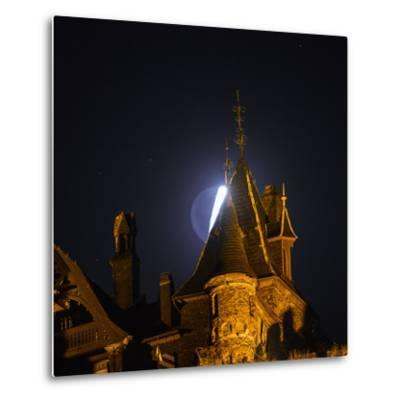 The Moon, Illuminated Sunlight Reflected on Earth's Surface, Behind the Imperial Castle of Cochem-Babak Tafreshi-Metal Print