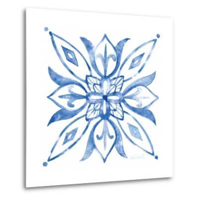 Tile Stencil II Blue-Anne Tavoletti-Metal Print