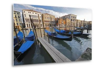 Gondolas Moored on the Grand Canal; Venice Italy-Design Pics Inc-Metal Print