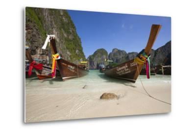 Maya Bay with Long-Tail Boats, Phi Phi Lay Island, Krabi Province, Thailand, Southeast Asia, Asia-Stuart Black-Metal Print