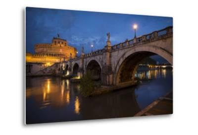 Pont Sant' Angelo and Castel Sant' Angelo at Dusk, Rome, Lazio, Italy, Europe-Ben Pipe-Metal Print