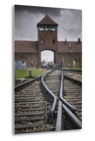 Railroad Tracks Leading into KL Auschwitz II-Jon Hicks-Metal Print