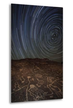 Star Trails at an Ancient Petroglyph Site Near Bishop, California--Metal Print