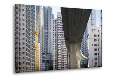 Highway Overpass and Apartment Towers, Hong Kong, China-Paul Souders-Metal Print