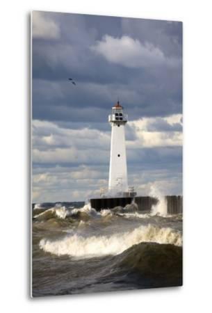 Sodus Outer Lighthouse on Stormy Lake Ontario; Sodus Point, New York, USA-Design Pics Inc-Metal Print