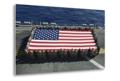Sailors and Marines Display the National Ensign Aboard USS Kearsarge--Metal Print