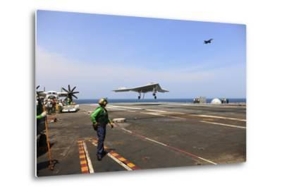 An X-47B Unmanned Combat Air System Makes an Arrested Landing--Metal Print