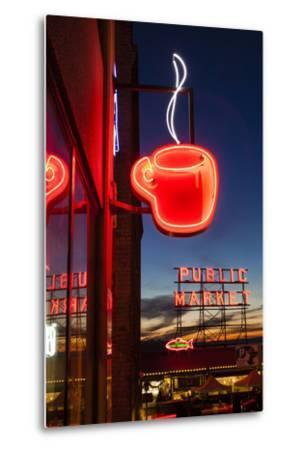 Pike Place Market at Christmastime. Seattle, Washington, USA-Michele Benoy Westmorland-Metal Print