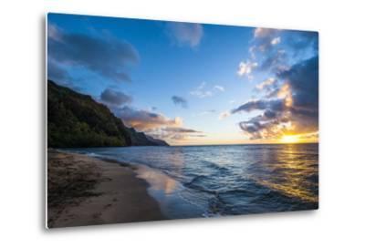 Sunset on the Napali Coast, Kauai, Hawaii,United States of America, Pacific-Michael Runkel-Metal Print