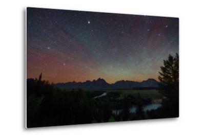 The Night Sky over the Grand Teton National Park and the Snake River-Babak Tafreshi-Metal Print