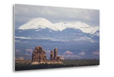 Sandstone Formations and Snowcapped Mountains-DLILLC-Metal Print
