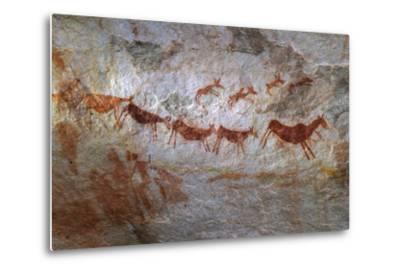 Rock Art on a Rock Wall in the Cederberg Wilderness Area, South Africa-Keith Ladzinski-Metal Print