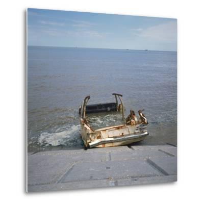 Car Wreck in Sea-Robert Brook-Metal Print