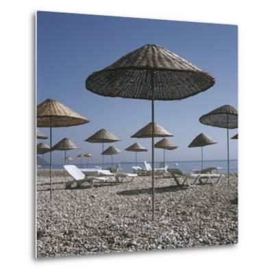 Palapas and Sun Loungers on Beach-Design Pics Inc-Metal Print