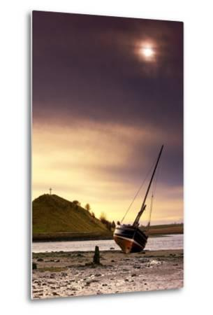 Boat on Beach at Low Tide; Alnmouth, Northumberland, England-Design Pics Inc-Metal Print