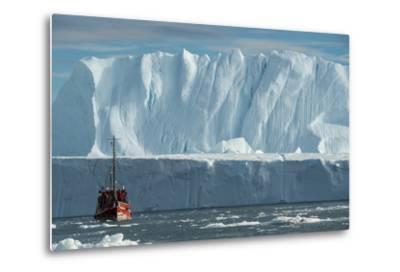 A Tourist Boat in the Waters of the Ilulissat Icefjord-Michael Melford-Metal Print