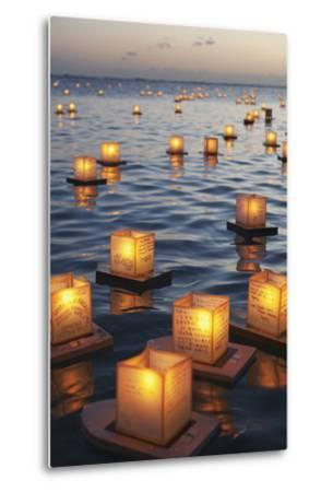 Annual Lantern Floating Ceremony During Sunset at Ala Moana; Oahu, Hawaii, United States of America-Design Pics Inc-Metal Print
