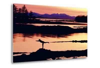 Woman Doing Yoga on a Rocky Beach, Duke Island, Southeast, Alaska-Design Pics Inc-Metal Print