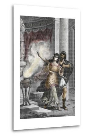 Roman Emperor Heliogabalus Kidnapping a Vestal--Metal Print