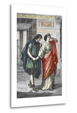 Portrait of Empress Valeria Messalina with Her Lover Gaius Silius, 1St Century--Metal Print