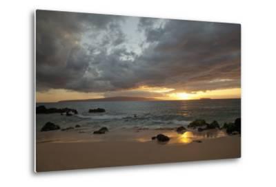 Hawaii, Maui, Makena, Cloudy Sunset at Big Beach-Design Pics Inc-Metal Print