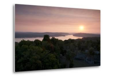 A View of Sunset over Lake Yaxha, from Tikal Temple 216-Sergio Pitamitz-Metal Print