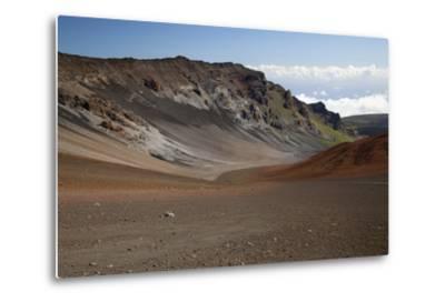 Hawaii, Maui, Haleakala Crater, Mountain and Dirt on the Crater's Floor-Design Pics Inc-Metal Print