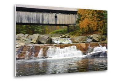 Covered bridge over Wild Ammonoosuc River, New Hampshire, USA-Michel Hersen-Metal Print