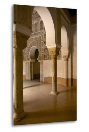 Intricate Islamic Design at Medersa Ben Youssef-Simon Montgomery-Metal Print