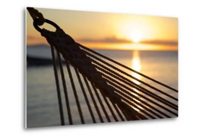 Hammock and Beach at Sunset-Frank Fell-Metal Print