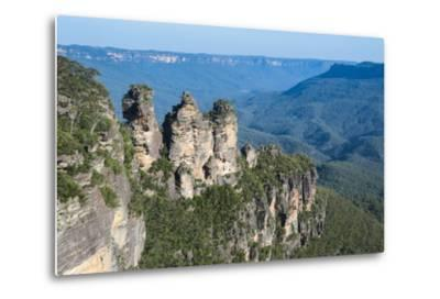 The Three Sisters and Rocky Sandstone Cliffs of the Blue Mountains-Michael Runkel-Metal Print