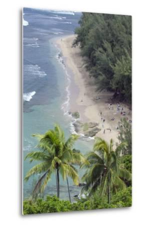 Ke'E Beach from the Kalalau Trail on the Na Pali Coast of Kauai, Hawaii-Rich Reid-Metal Print