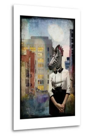 Zebra Strolling the High Line--Metal Print