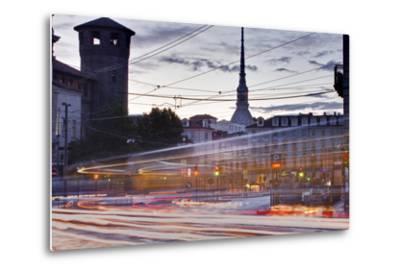 Traffic Rushes Through Piazza Castello, Turin, Piedmont, Italy, Europe-Julian Elliott-Metal Print