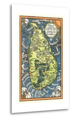 Map of Ceylon Tea Industry Sites-Found Image Press-Metal Print