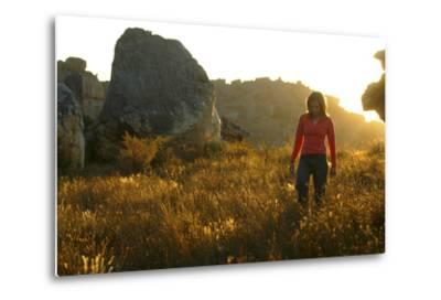 A Female Climber Walking at Sunset in the Cederberg Wilderness Area, South Africa-Keith Ladzinski-Metal Print