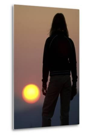 A Female Climber Stands at Sunset in the Cederberg Wilderness Area, South Africa-Keith Ladzinski-Metal Print