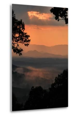 Sunset Colors a View of a Distant Mountain Range after a Rainstorm-Amy White and Al Petteway-Metal Print