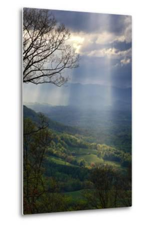 Shafts of Afternoon Sunlight Light Up a Farm in the Valley-Amy White and Al Petteway-Metal Print