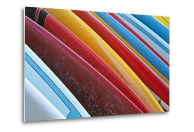 Close Up of Coloured Surfboards Lined Up; Honolulu, Oahu, Hawaii, United States of America-Design Pics Inc-Metal Print