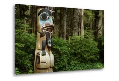 Closeup of Totem Pole Near Sitka Ak on Baranof Island, Tongass National Forest Southeast Summer-Design Pics Inc-Metal Print