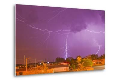 Multiple Lightning Bolts During an Intense Lightning Storm-Mike Theiss-Metal Print