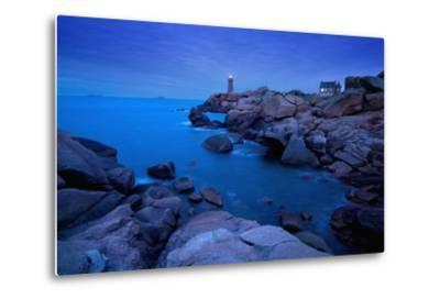 Small Lighthouse and House at Dusk-Design Pics Inc-Metal Print