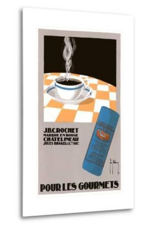 Pour Les Gourmets Coffee, Cup on Tablecloth-Found Image Press-Metal Print