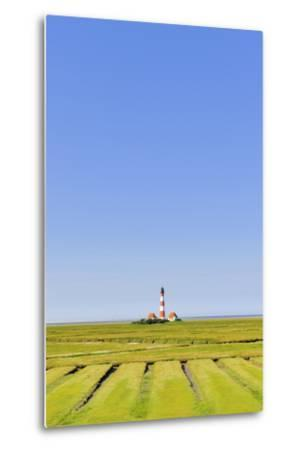 Westerhever Lighthouse, North Sea, Schleswig-Holstein, Westerheversand, Wadden Sea-Herbert Kehrer-Metal Print