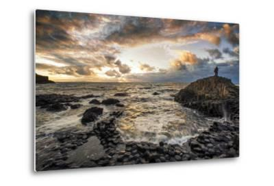 Sunset at the Giant's Causeway in Northern Ireland-Chris Hill-Metal Print