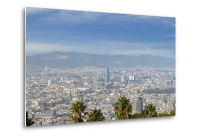 Barcelona Skyline from Montjuic.-Jon Hicks-Metal Print
