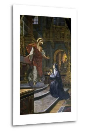 Jesus Appears to St. Margaret Mary Alacoque--Metal Print